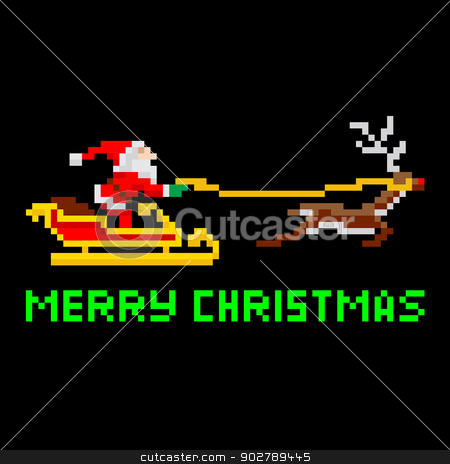 Retro pixel art Christmas Santa stock vector clipart, Retro arcade video game style pixel art Christmas Santa Claus in sleigh with Merry Xmas message by Christos Georghiou
