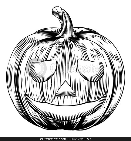 Vintage halloween pumpkin stock vector clipart, A Halloween pumpkin in a retro vintage woodblock or woodcut etching style by Christos Georghiou
