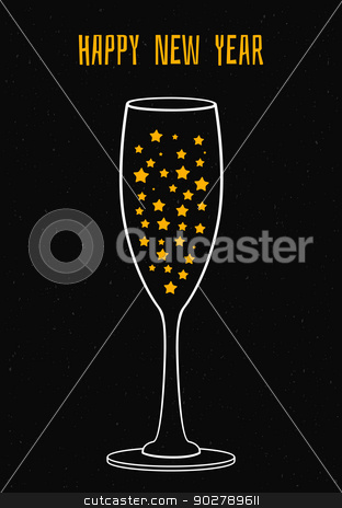 Glass of champagne with the stars stock vector clipart, Vector illustration of glass of champagne with the stars by SonneOn