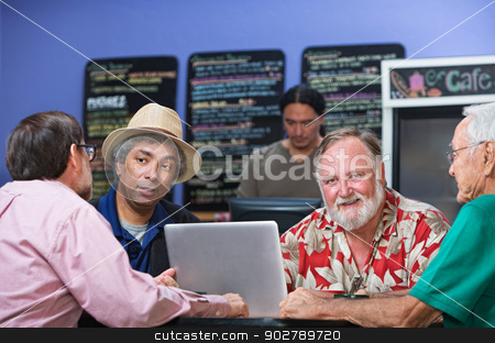 Diverse Men in Cafe stock photo, Cheerful man with diverse friends in cafe by Scott Griessel