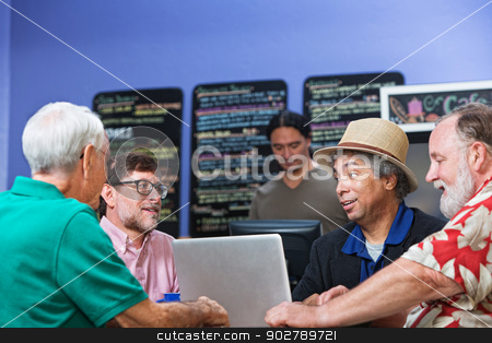 Man Talking with Friends stock photo, Mature Black man talking with Caucasian friends by Scott Griessel