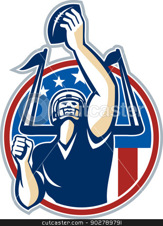 Football Gridiron Player Goal Post stock vector clipart, Illustration of an american football gridiron quarterback player holding up ball facing front set inside circle with stars and stripes flag done in retro style. by patrimonio