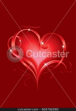 Valentine's card stock photo, Valentine's day greeting card with abstract Hearts by dvarg