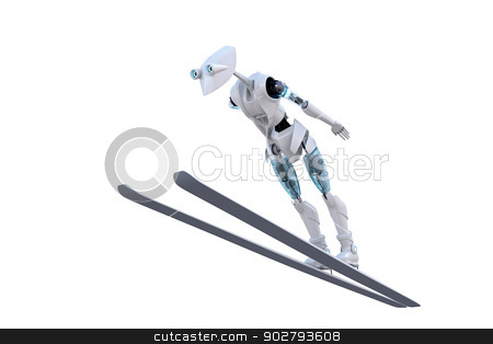 Robot Ski Jumper stock photo, 3d render of a robot ski jumping against a white background. by Glenn Price