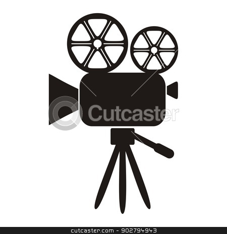 Movie camera ico stock vector clipart, Black movie camera icon on a white background - vector illustration by blumer