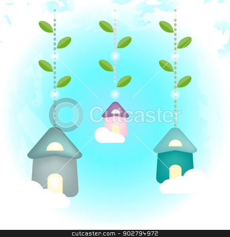 Birdhouses stock vector clipart, An illustration of birdhouses perched on tree branches for your design. Document in JPEG RGB format, also available as a vector EPS 10 compatible format, use only simple and mesh gradients, transparencies and blending mode. by Elsyann