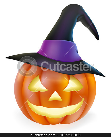 Witch hat Halloween pumpkin stock vector clipart, An illustration of a cute cartoon carved Halloween pumpkin lantern with happy smile and pointed witch hat  by Christos Georghiou