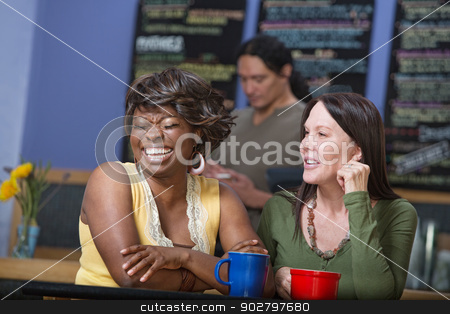 Laughing Woman in Cafe with Friend stock photo, Diverse pair of women joking in coffee house by Scott Griessel