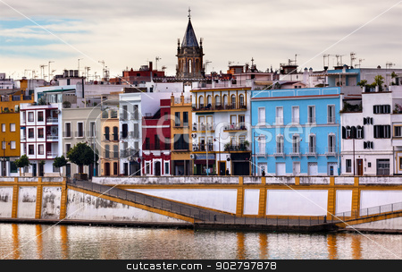 Saint Peter Church Cityscape River Guadalquivr Morning Seville A stock photo, Saint Peter Church River Guadalquivr Morning Reflection Houses Cityscape Seville Andalusia Spain.   by William Perry