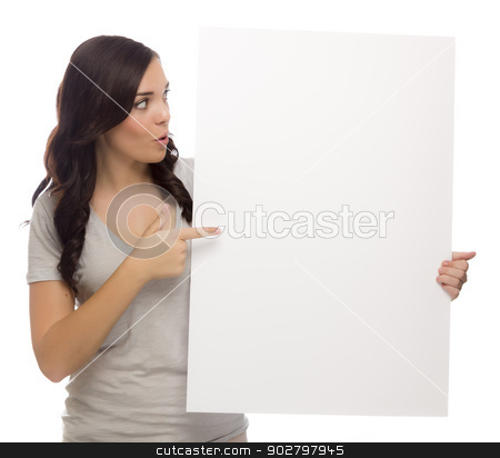 Beautiful Mixed Race Female Holding Blank Sign on White stock photo, Beautiful Mixed Race Female Holding and Pointing Blank Sign Isolated on a White Background.   by Andy Dean