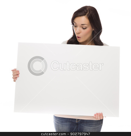 Mixed Race Female Holding Blank Sign on White stock photo, Beautiful Mixed Race Female Holding and Looking at Blank Sign Isolated on a White Background.   by Andy Dean
