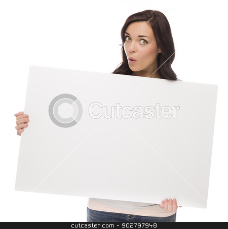 Wide Eyed Mixed Race Female Holding Blank Sign on White stock photo, Beautiful Mixed Race Female Holding Blank Sign Isolated on a White Background.   by Andy Dean