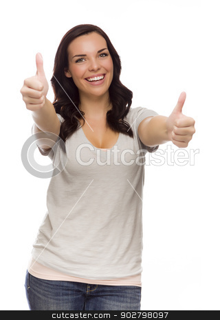 Pretty Mixed Race Female Model Giving Thumbs Up on White stock photo, Pretty Female Mixed Race Model Giving Thumbs Up Gesture Isolated on a White Background. by Andy Dean