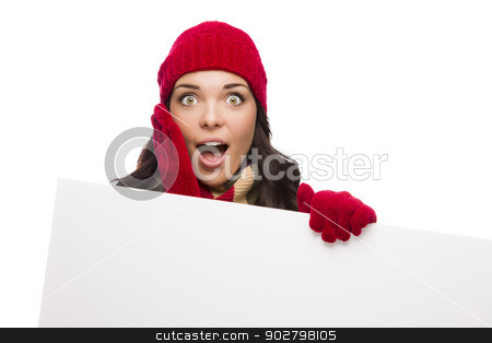 Shocked Girl Wearing Winter Hat and Gloves Holds Blank Sign  stock photo, Shocked Girl Wearing Winter Hat and Gloves Holds Blank Sign Isolated on White Background. by Andy Dean
