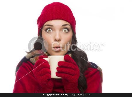 Wide Eyed Mixed Race Woman Wearing Winter Gloves Holds Mug  stock photo, Happy Mixed Race Woman Wearing Winter Hat and Gloves Holds a Mug Isolated on White Background. by Andy Dean