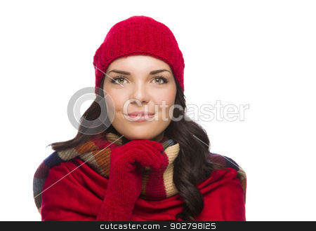 Happy Mixed Race Woman Wearing Winter Hat and Gloves  stock photo, Happy Mixed Race Woman Wearing Winter Hat and Gloves Isolated on White Background by Andy Dean