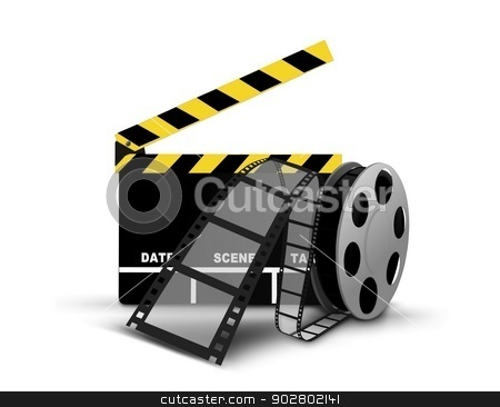 Clapperboard and film reel stock photo, Clapperboard and film reel by Mohamad Razi Bin Husin