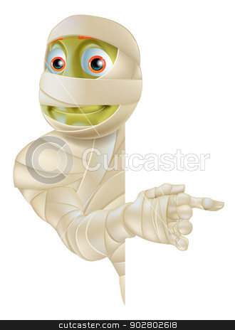 Halloween Mummy Pointing stock vector clipart, An Egyptian mummy Halloween monster peeping round a banner or sign and pointing at the sign by Christos Georghiou