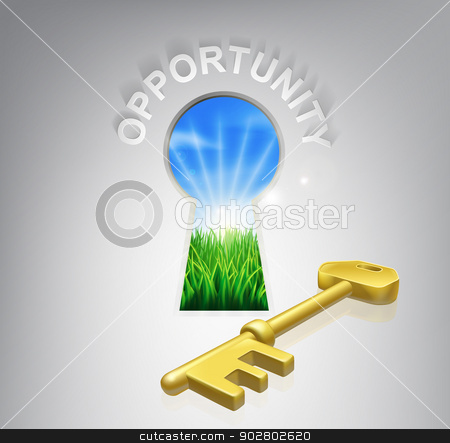 Key Opportunity Concept stock vector clipart, Key to opportunity conceptual illustration of an idyllic sunrise over fields seen through a keyhole with a golden key and opportunity sign over it. Could be used in business or financial opportunity context. by Christos Georghiou