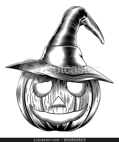 Vintage friendly halloween pumpkin stock vector clipart, A Halloween pumpkin wearing a witch hat in a retro vintage woodblock or woodcut etching style by Christos Georghiou