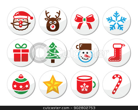 Christmas, santa vector icons set stock vector clipart, Xmas holidays vector round labels collection by Agnieszka Bernacka