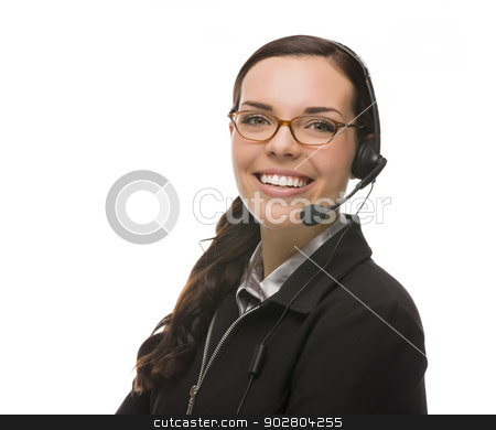 Friendly Mixed Race Receptionist Wearing Phone Head Set stock photo, Helpful Mixed Race Receptionist Wearing Phone Head-set Isolated on White Background. by Andy Dean