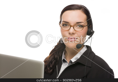 Mixed Race Receptionist In Front of Computer Wearing Phone Head- stock photo, Helpful Mixed Race Receptionist In Front of Computer Wearing Phone Head-set Isolated on White Background. by Andy Dean