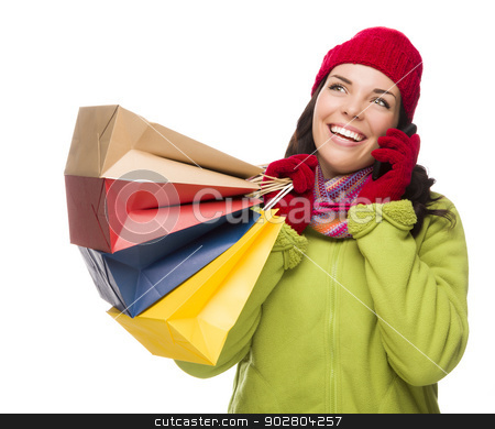 Mixed Race Woman Holding Shopping Bags On Cell Phone Looking Up stock photo, Mixed Race Woman Holding Shopping Bags Talking On Cell Phone Looking Up and to the Side Isolated on White Background. by Andy Dean