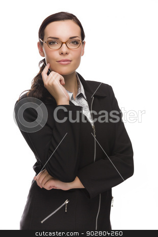 Professional Mixed Race Businesswoman Isolated on White stock photo, Mixed Race Businesswoman Isolated on White Background. by Andy Dean