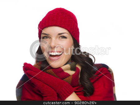 Excited Mixed Race Woman Wearing Winter Hat and Gloves stock photo, Expressive Mixed Race Woman Wearing Winter Hat and Gloves Isolated on White Background. by Andy Dean