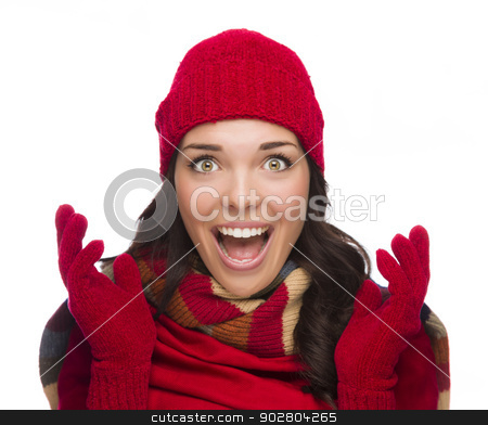 Ecstatic Mixed Race Woman Wearing Winter Hat and Gloves stock photo, Expressive Mixed Race Woman Wearing Winter Hat and Gloves Isolated on White Background. by Andy Dean
