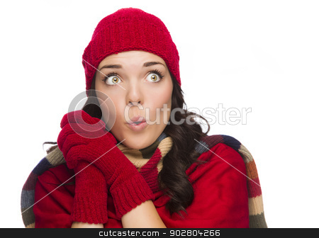 Mixed Race Woman Wearing Hat and Gloves Looking to Side stock photo, Beautiful Excited Mixed Race Woman Wearing Winter Hat and Gloves Isolated on a White Background Looking to the Side. by Andy Dean