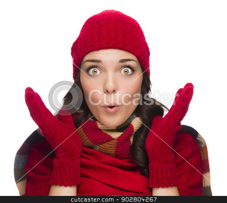 Stunned Mixed Race Woman Wearing Winter Hat and Gloves stock photo, Expressive Mixed Race Woman Wearing Winter Hat and Gloves Isolated on White Background. by Andy Dean