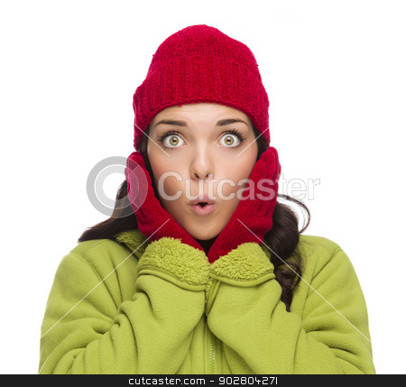 Stunned Mixed Race Woman Wearing Winter Hat and Gloves stock photo, Beautiful Mixed Race Woman Wearing Winter Hat and Gloves Isolated on a White Background. by Andy Dean