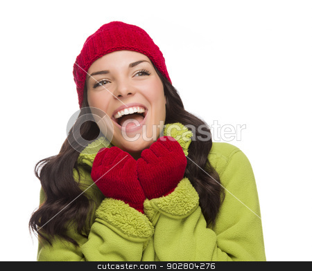 Mixed Race Woman Wearing Hat and Gloves Looking to Side stock photo, Beautiful Mixed Race Woman Wearing Winter Hat and Gloves Looking to the Side Isolated on a White Background. by Andy Dean