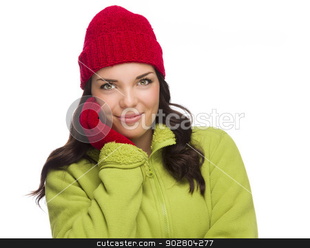 Smilng Mixed Race Woman Wearing Winter Hat and Gloves stock photo, Beautiful Mixed Race Woman Wearing Winter Hat and Gloves Isolated on a White Background. by Andy Dean