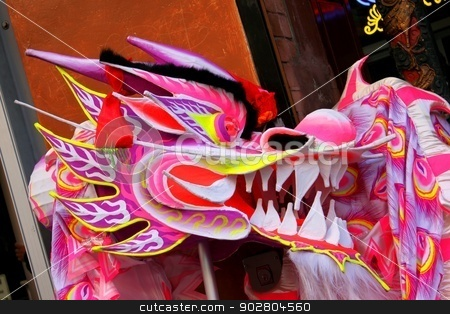 Chinese Dragon stock photo, Colorful Chinese dragan used in a parade. by Henrik Lehnerer