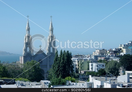Saints Peter and Paul Church stock photo, Saints Peter and Paul Church in San Francisco by Henrik Lehnerer