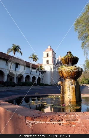 Santa Barbara Mission Fountain stock photo, The fountain in front of Mission Santa Barbara in California USA by Henrik Lehnerer