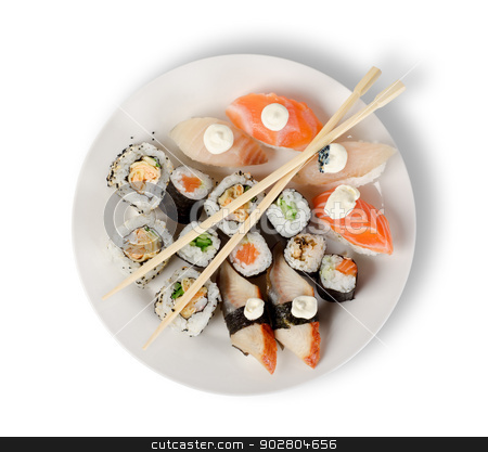 Sushi and rolls  stock photo, Sushi and rolls in a plate with sticks isolated on a white background. Clipping path by Givaga