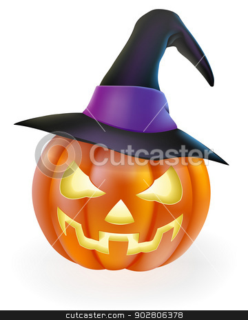 Halloween Pumpkin in Witch Hat stock vector clipart, A drawing of a cartoon Halloween pumpkin with classic scary face carved into it and wearing a pointy witch's hat by Christos Georghiou