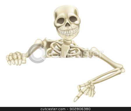 Halloween Skeleton Pointing Down stock vector clipart, An illustration of a cartoon Halloween skeleton pointing down at a sign or scroll by Christos Georghiou