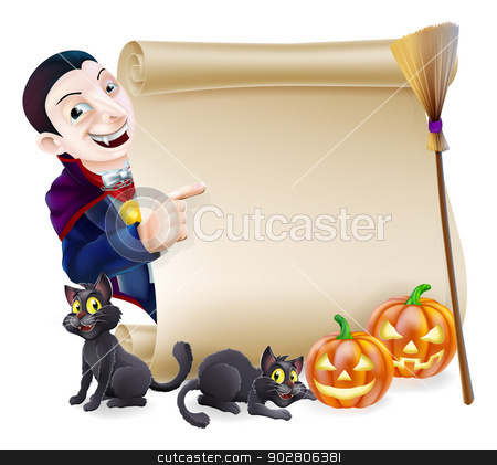 Halloween Vampire Dracula Scroll stock vector clipart, Halloween scroll or banner sign with orange carved Halloween pumpkins and black witch's cats, witch's broom stick and cartoon Dracula vampire character by Christos Georghiou