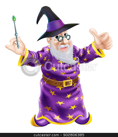 Cartoon Wizard stock vector clipart, Illustration of a happy cartoon wizard character holding a wand and giving a thumbs up by Christos Georghiou
