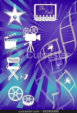 Movie background stock vector clipart, Shiny blue movie background with curl film stripes and movie icons by blumer