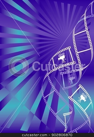 Movie background stock vector clipart, Shiny blue movie background with curl film stripes with movie camera icon by blumer