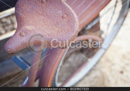 Abstract of Old Rusty Antique Bicycle Seat stock photo, Abstract of Old Rusty Antique Bicycle Seat in a Rustic Outdoor Setting.  by Andy Dean