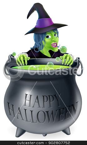 Halloween Witch and Cauldron stock vector clipart, An illustration of a cartoon witch looking over her cauldron with a Happy Halloween message on it by Christos Georghiou
