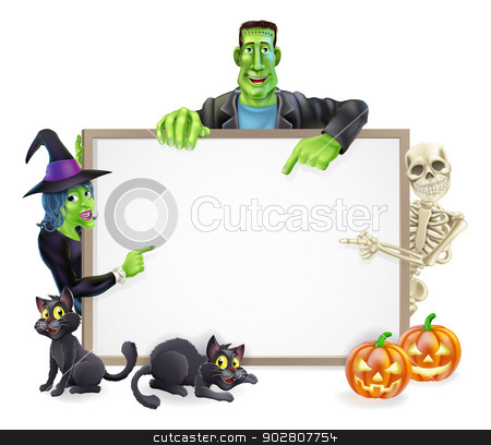 Halloween Monsters Background Sign stock vector clipart, A Halloween sign with cartoon skeleton, witch and Frankenstein monster all pointing at the center. Also with Halloween pumpkins and black cats. by Christos Georghiou