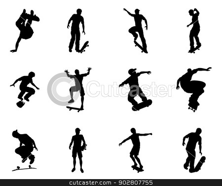 Skateboarder silhouette outlines stock vector clipart, Very high quality and highly detailed skating skateboarder silhouette outlines. Skateboarders performing lots of tricks on their boards. by Christos Georghiou